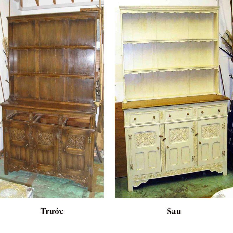 sơn tủ sách gỗ đẹp