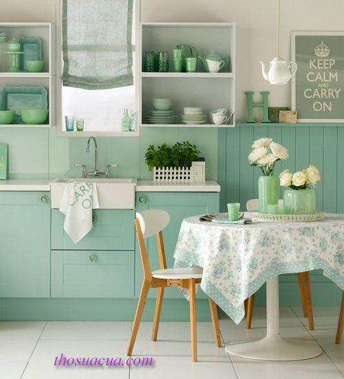 Đồ gỗ nội thất màu xanh nhạt