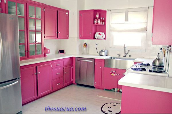 đồ gỗ nội thất màu hồng