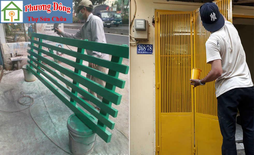 Thợ sơn cửa sắt 4 cánh tại nhà